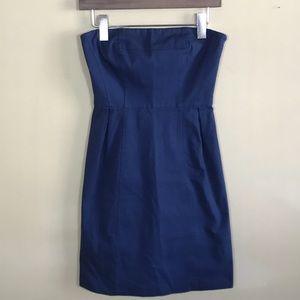 THEORY strapless blue dress